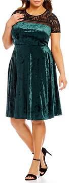 Sangria Plus Illusion Yoke Velvet Dress