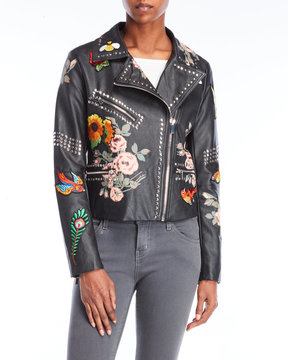 Bagatelle Faux Leather Embroidered Jacket