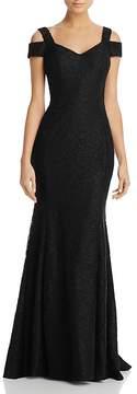 Aqua Cold-Shoulder Lace Gown - 100% Exclusive