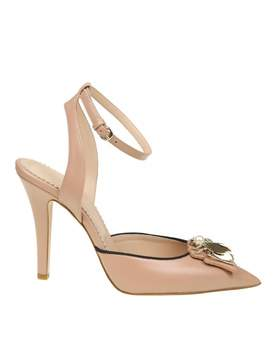 RED Valentino Decollete' Ankle Strap In Leather With Applied Decoratio