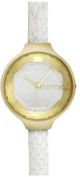 RumbaTime Orchard Exotic Goldtone White Dial Snake-Embossed Leather Strap Watch