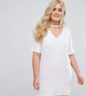Alice & You Relaxed T-Shirt Dress With Choker Neck Detail