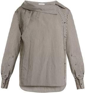 Altuzarra Eileen asymmetric striped twill blouse
