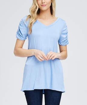 Bellino Baby Blue Ripple-Sleeve V-Neck Tee - Women