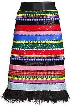 Alice + Olivia Alice + Olivia Women's Merril Embellished Beaded Midi Skirt
