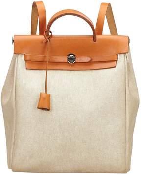 Hermes Vintage Herbag White Cloth Backpacks