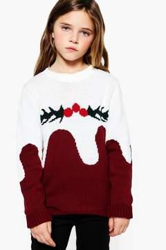 boohoo Girls Christmas Pudding Jumper