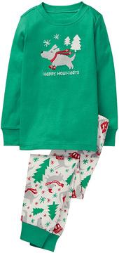 Gymboree Green 'Happy Howl-idays' Hoho Pajama Set - Infant, Toddler & Boys