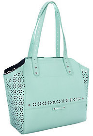 As Is B. Makowsky Perforated Saffiano Leather Tote