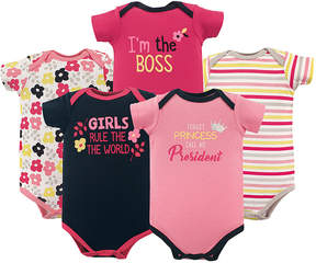 Luvable Friends Pink & Black 'Girl's Rule' Basic Bodysuits - Set of Five