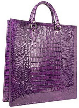 L.A.P.A. Violet Croco Large Tote Leather Handbag w/Pouch