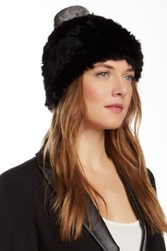 Surell Genuine Dyed Rex Rabbit Fur Pompom Hat