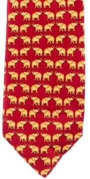 Gianni Versace Elephant Print Silk Tie