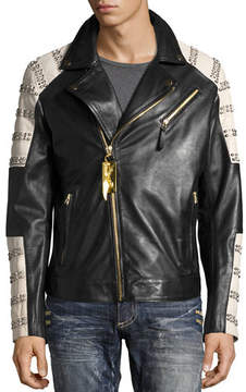 Robin's Jeans Embellished Leather Motorcycle Jacket