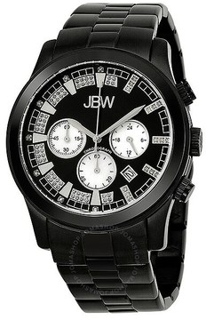 JBW Delano Black Chronograph Diamond Dial Black IP Steel Bracelet Men's Watch
