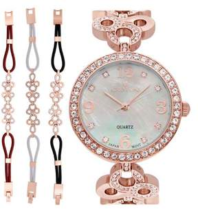 Croton Ladies Rosetone Mother of Pearl Dial Watch with Crystal Bezel & Bracelet Set