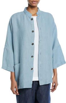 eskandar Sloped-Shoulder Mandarin-Collar Linen Jacket