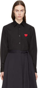 Comme des Garcons Black and Red Heart Patch Shirt