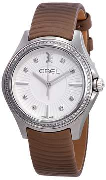 Ebel Wave Silver Dial Ladies Taupe Leather Watch