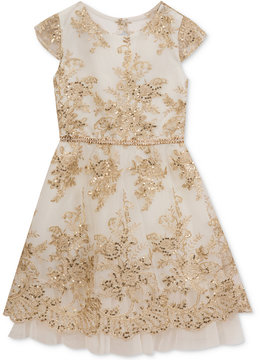 Rare Editions Sequin-Detail Embroidered Party Dress, Big Girls (7-16), Created for Macy's
