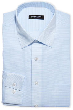 Pierre Cardin Blue Micro Check Slim Dress Shirt