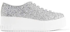 Miu Miu Glittered Leather Platform Sneakers - Silver