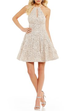 B. Darlin Keyhole-Neck Lace Fit-And-Flare Dress