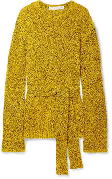 Dion Lee Belted Textured Paper And Cotton-blend Sweater - Yellow