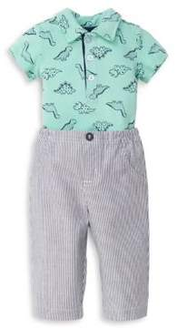 Little Me Baby Boy's Two-Piece Dinosaur Cotton Romper and Pants Set