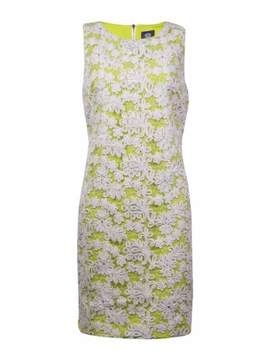 Vince Camuto Women's Embroidered Mesh Dress (4, Ivory/Lime)