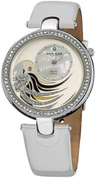 Akribos XXIV Diamond Parrot Dial Swiss Quartz Leather Strap Ladies Watch