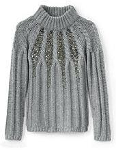 Lands' End Girls Embellished Cable Funnel Neck Sweater-Deep Black
