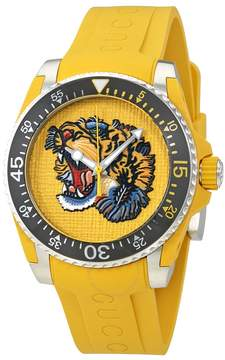 Gucci Yellow Embroidered Tiger Dial Men's Watch