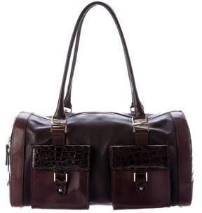 Oscar de la Renta Crocodile-Trimmed Leather Bag