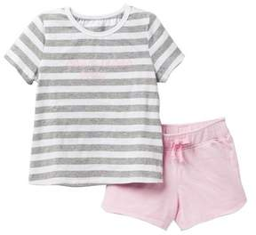 AG Jeans Stripe Jersey Top with Embroidery and Shorts (Toddler Girls)
