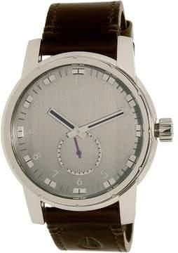 Nixon Men's Patriot A938000 Silver Leather Swiss Quartz Dress Watch