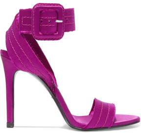 Pedro Garcia Catalina Frayed Satin Sandals - Plum