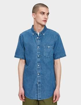 Obey Keble Denim Woven SS Shirt in Light Blue
