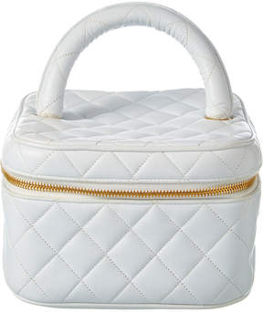 Chanel White Quilted Lambskin Leather Vanity Case