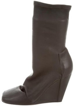 Rick Owens Leather Wedge Ankle Boots w/ Tags