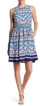 Eliza J Patterned Fit & Flare Dress