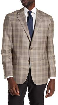 Hickey Freeman Brown Plaid Two Button Notch Lapel Sport Coat