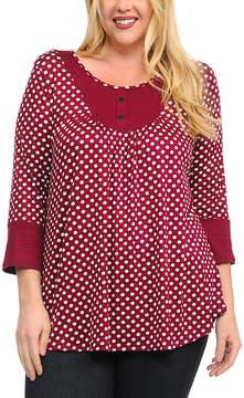 Celeste Burgundy Polka Dot Button-Accent Tunic - Plus
