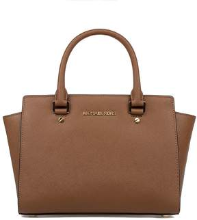Michael Kors Luggage Medium Selma Satchel Saffiano Leather Top Handle Bag - BROWN - STYLE