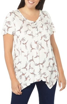 Evans Plus Size Women's Bird Print Pintuck Top