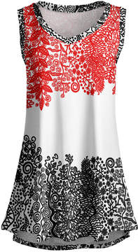 Lily Red & Black Floral Sleeveless Tunic - Women & Plus