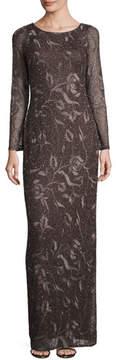 Aidan Mattox Long-Sleeve Beaded Floral Column Gown, Espresso