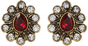 Amrita Singh Red & White Crystal Pear-Cut Stud Earrings