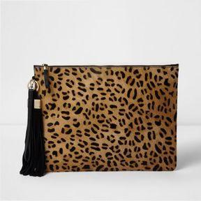 River Island Womens Beige leopard print leather clutch bag