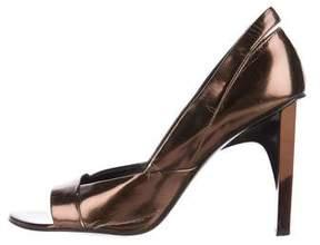 Versace Metallic Peep-Toe Pumps